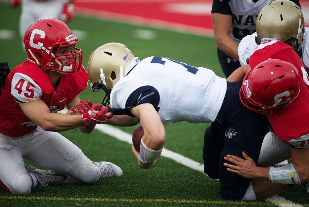 After a blowout loss to Navy last week, Cornell sprint football pushed past Mansfield to earn its first victory of the season.