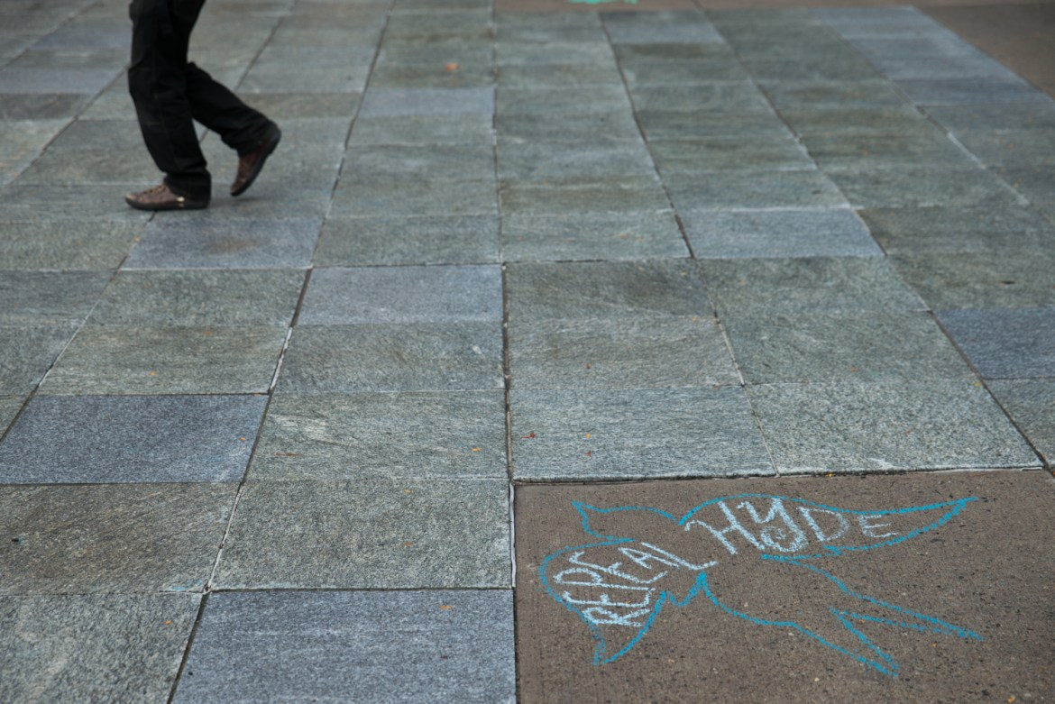 "Chalk art featuring the words ""Repeal Hyde"" on Ho Plaza on Friday 30 September 2016, as part of an event sponsored by Planned Parenthood Generation Action."