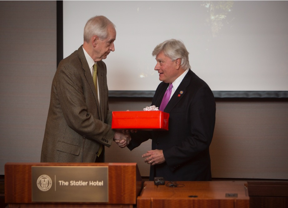 Interim President Rawlings thanked State Sen. Michael Nozzolio '73 on Thursday for his work connecting Cornell and the state.