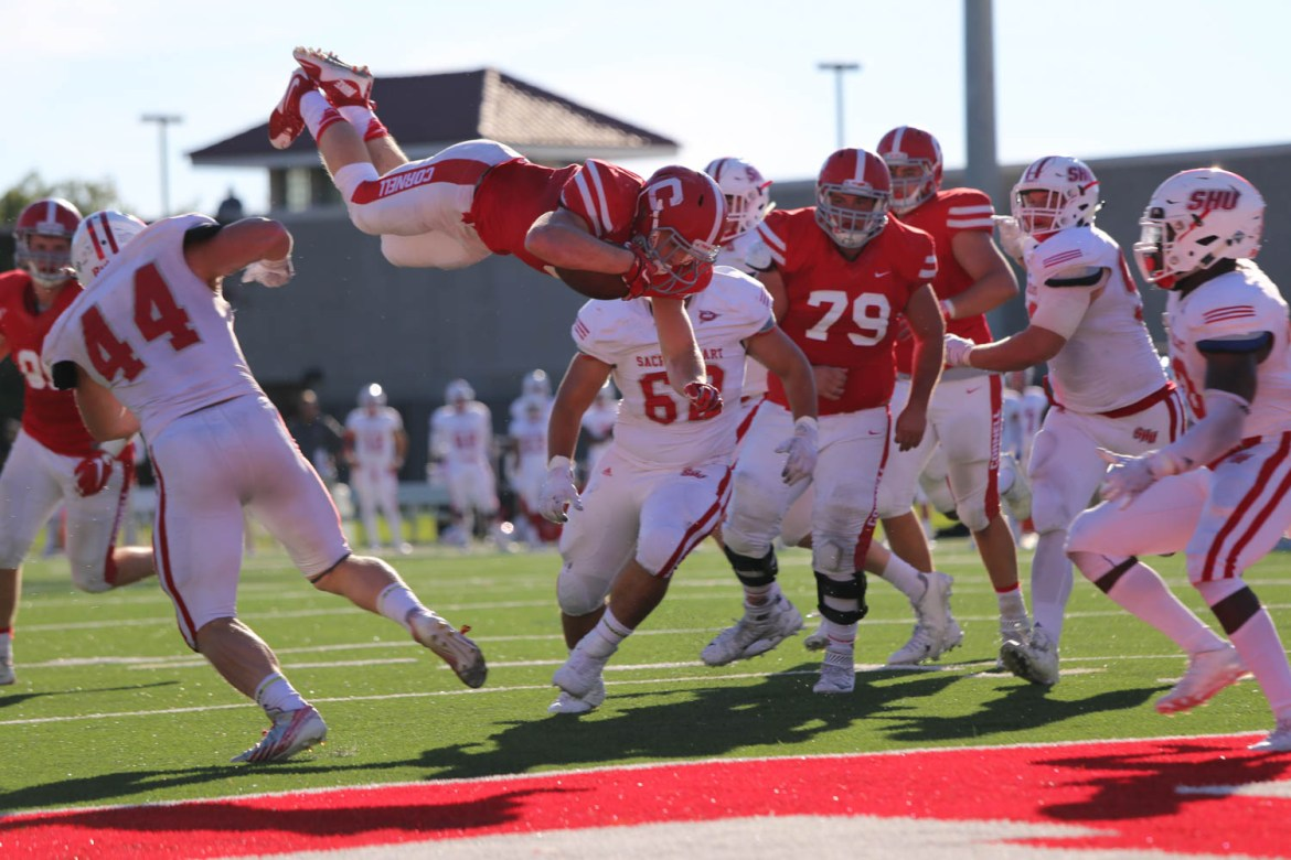 J.D. PicKell falls just short of a touchdown as Cornell football's comeback bid was squandered against Sacred Heart.