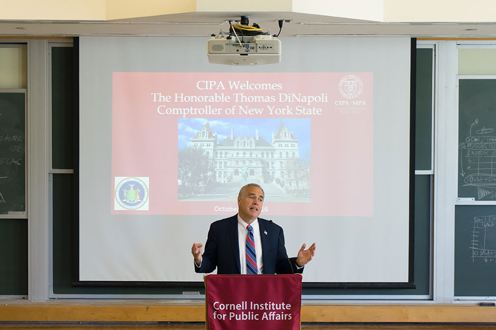 New York State Comptroller Thomas DiNapoli encourages students to become more involved in government issues at a lecture Friday.