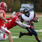 The Quakers utilized the ground game to overpower Cornell's defense, rushing for five touchdowns and 243 yards.