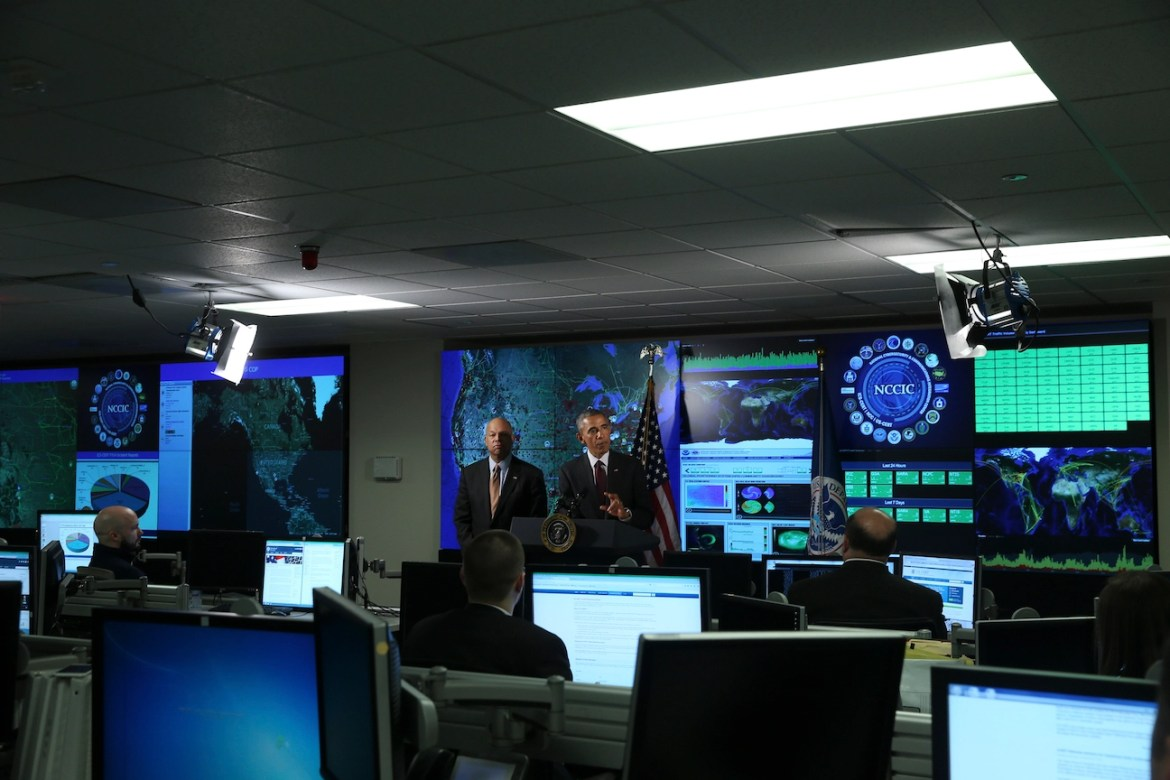 President Barack Obama on a visit to the National Cybersecurity and Communications Integration Center in Arlington, Va. on Jan. 13, 2015.