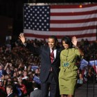 Sen. Barack Obama and Michelle Obama on stage for a victory rally in Des Moines, Iowa, May 20, 2008. At the conclusion of the president's term, students say they are already nostalgic for his presidency.