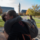 Two students embrace at the Women in Solidarity event on Thursday.