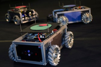 Swarm bots assembled using the team's minibot kits.