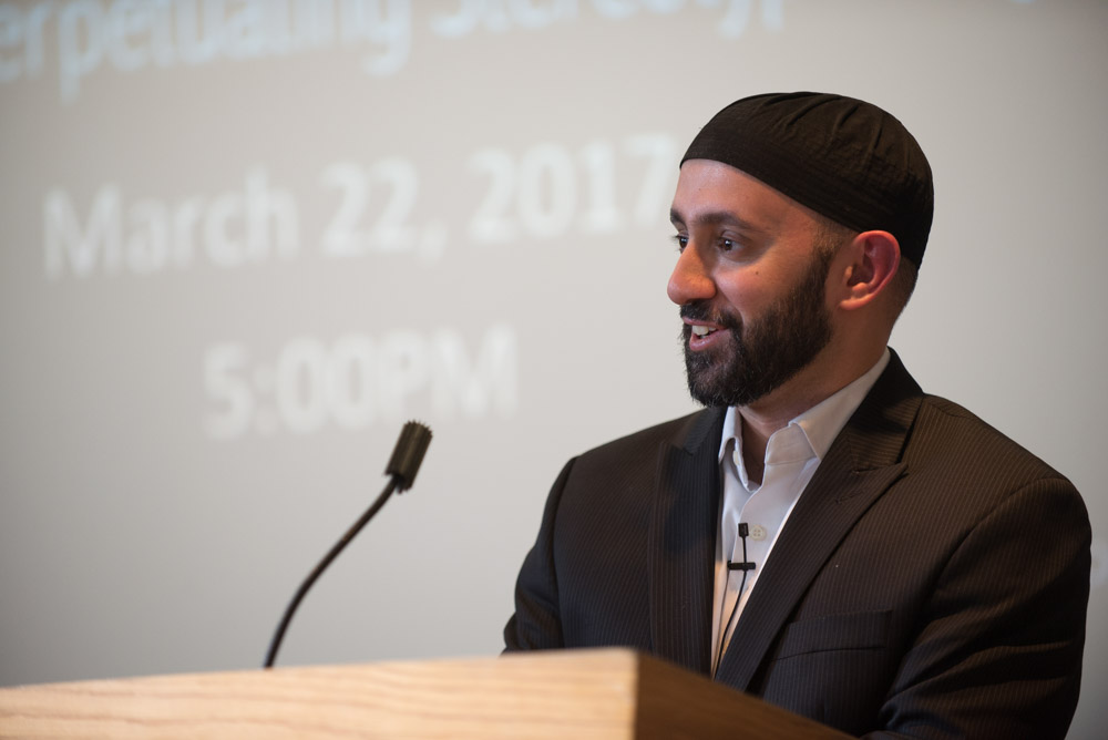 Khalid Latif lectures in Goldwin Smith Hall on Wednesday evening on facing bias.  or)