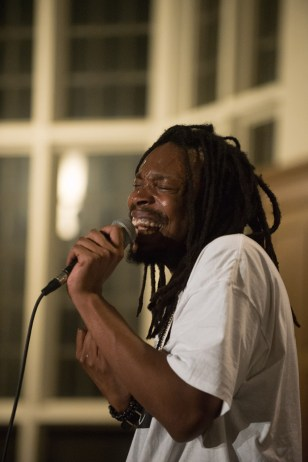 SadoSan, of rap collective 99 Sublime, performs in Risley Hall on Saturday night.