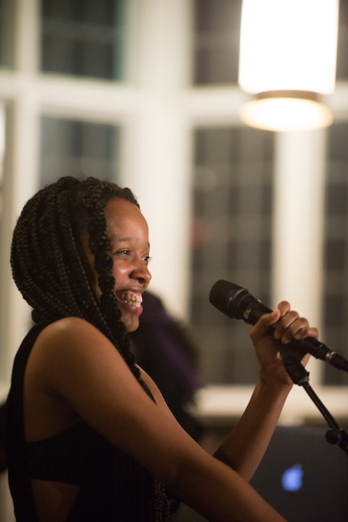 Jamila Woods, a Chicago songwriter, poet, and frequent collaborator with Chance The Rapper, performs in Risley Hall's dining hall on Saturday night.