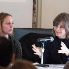 """Kateryna Pishchikova responding to audience questions at the roundtable discussion """"Russia and its Neighbors in the Age of Trump"""" at the A.D. White House on 16 March."""