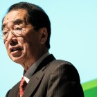 """Former Japanese prime minister Naoto Kan speaking at his lecture """"The Truth about the Nuclear Disaster in Fukushima and the Future of Renewable Energy"""" on Tuesday at Statler Auditorium."""