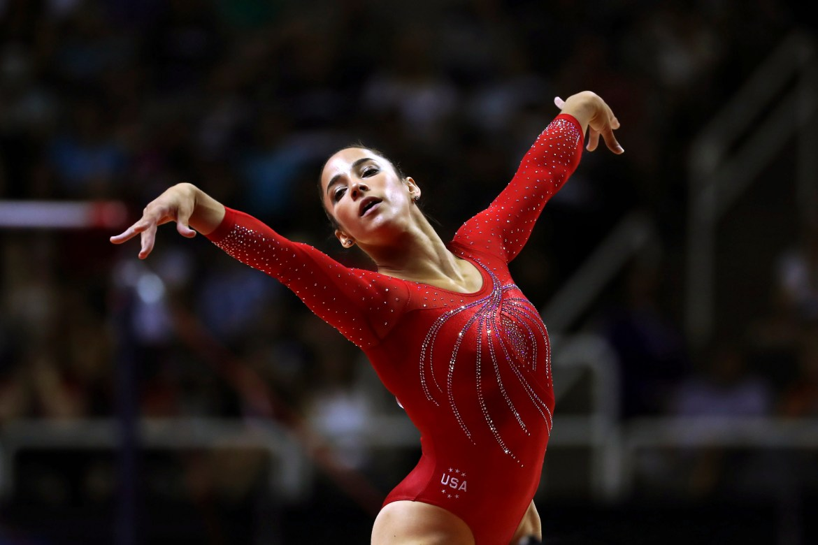 Aly Raisman competes on the floor exercise on Day 2 of the women's gymnastics U.S. Olympic Trials at the SAP Center in San Jose, Calif., on July 10, 2016.