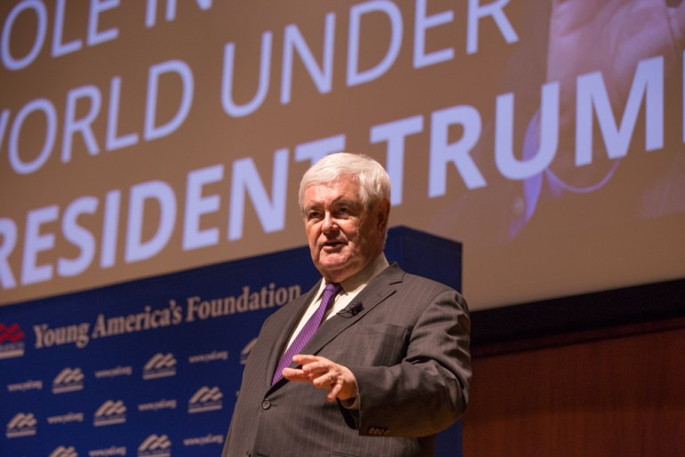 Gingrich responds to an audience question following an uninterrupted lecture.