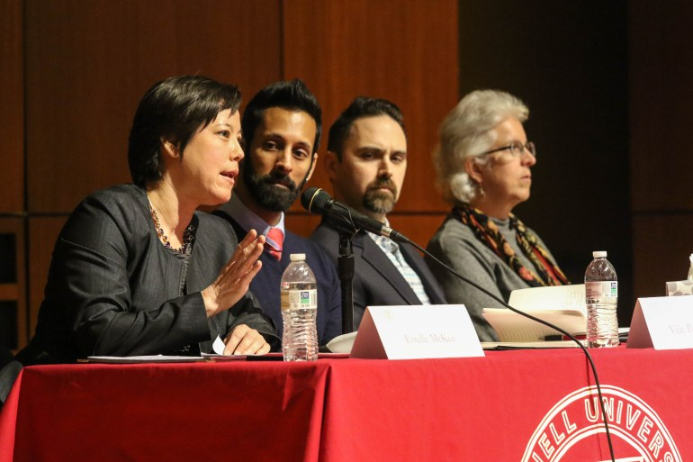 Professor McKee of Cornell Law School addresses questions about status of DACA students at Call Auditorium on March, 17, 2017 ( Michael Wenye Li/ Sun Assistant Photography Editor) Download permissions