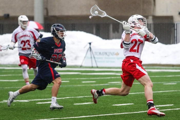 No. 27 Connor Fletcher scores in the Men's Lacrosse game vs. UPenn on Saturday.