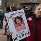"""Fullis Conroy, of Ithaca, said she and her friends marched on Wednesday because they """"don't want to go back to the '50s."""""""
