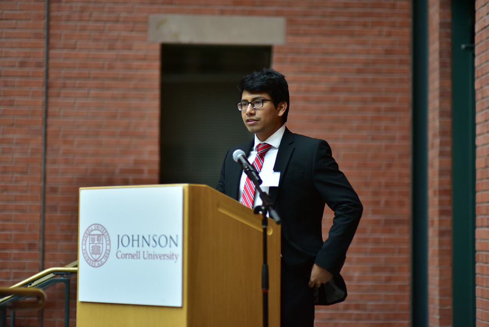 Peter Romero '18 speaks at the New York State Latino Leadership Summit on Saturday, featuring lectures and workshops by prominent alumni.