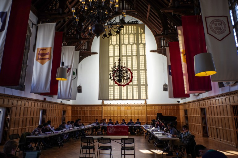 Members of Student Assembly gather at Williard Straight Hall Memorial Room on March 16, 2017. ( Adrian Boteanu / Sun Staff Photographer) Download permissions