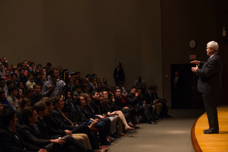 About 600 students, faculty members and staff attended the lecture on Wednesday night
