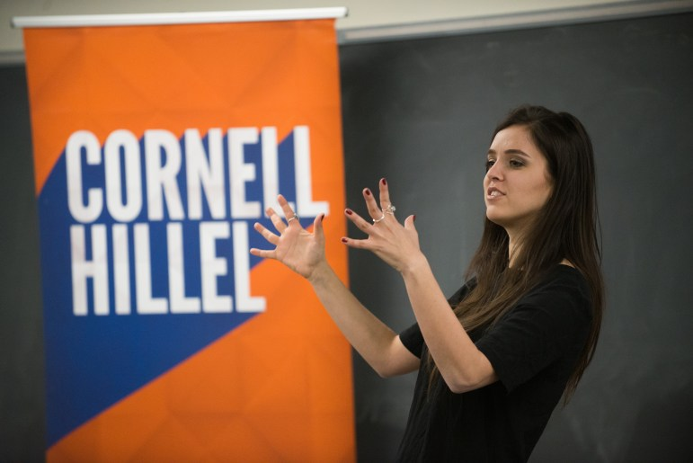 Erin Schrode, a former Congressional candidate in the California 2nd, speaks about her campaign in Philips Hall on April 13 2017.