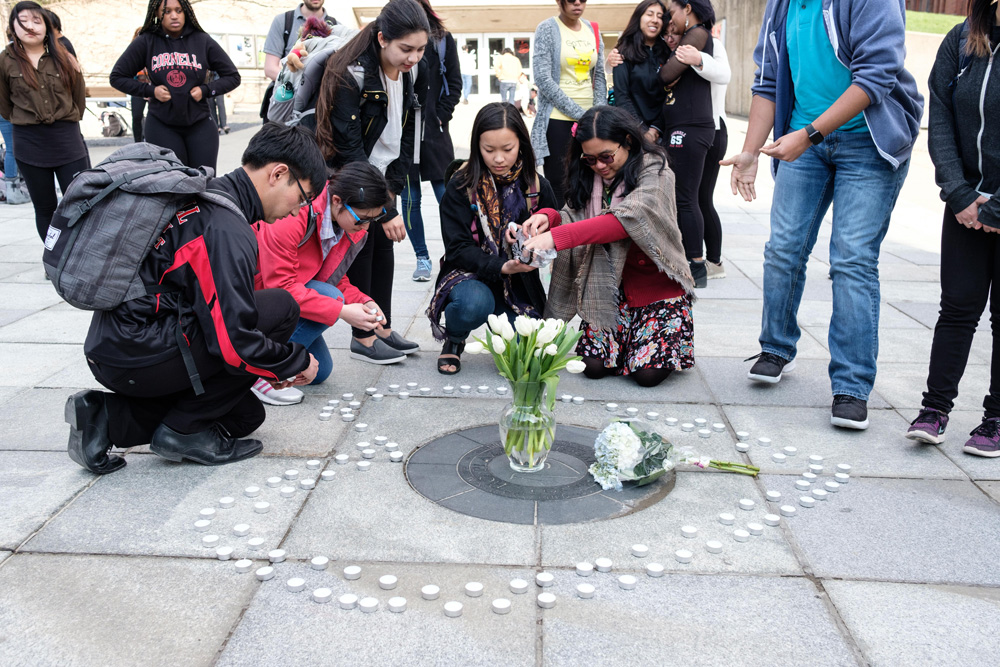 "Students gathered at a vigil organized by Japan United-States Association to reflect on the death of Peiran ""Joyce"" Shi '19."