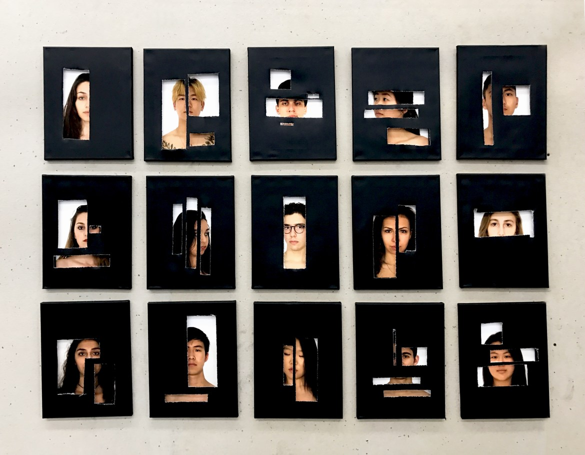 "Saturday night's gala featured artwork from student artists. This piece, titled ""Stigma"" depicts a collection of photographed faces viewed through cut-out black canvas."