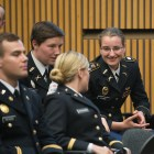 Army Cadet Charlotte Levine '17 at a ceremony honoring ROTC graduates in Goldwin Smith on Tuesday.