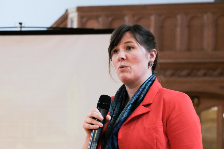 Sarah Affel presents at a Student Assembly meeting in Willard Straight Hall on April 20, 2017.