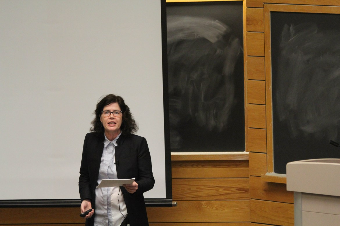Historian Nancy Isenberg discusses her new book White Trash: The 400-Year Untold History of Class in America in Goldwin Smith Hall on Thursday.
