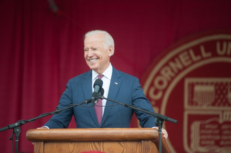 """Biden said at Cornell on Saturday that """"every single person is entitled to be treated with dignity and respect,"""" something he said is """"in our DNA."""""""