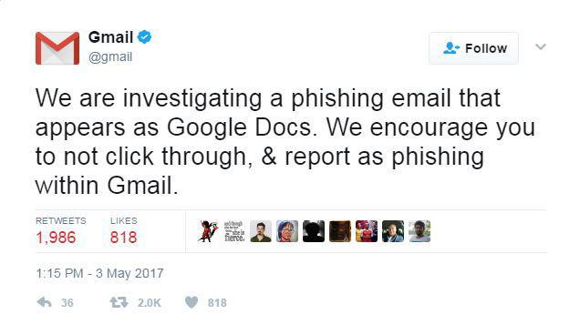 Gmail released a statement soon after they learned of the attack, advising its users  about the phishing scam Wednesday afternoon.