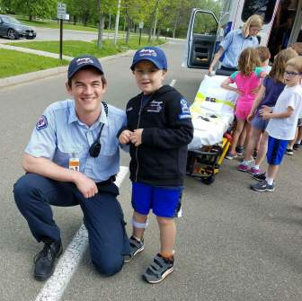 Cameron Yates '18 and Officer Colin.