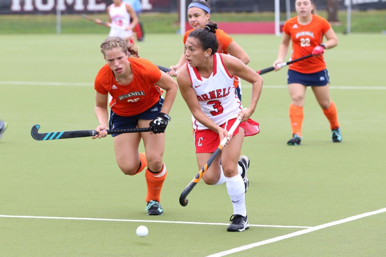 Junior midfielder Gabby DePetro runs the ball downfield in the Red's 1-0 win against Bucknell University on September 3, 2017 (Jason Ben Nathan / Sun Senior Photographer)