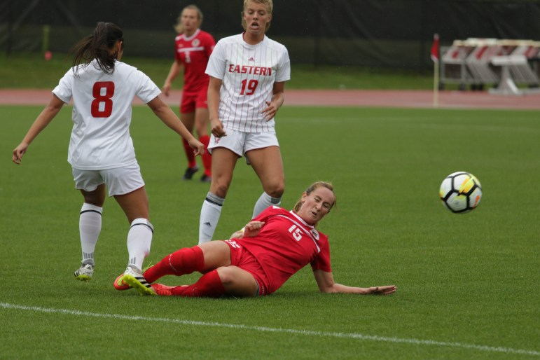 Women's Soccer Captain Kaylee Fitzgerald attempts a tackle during the Red's match against Eastern Washington University on September 3rd, 2017 (Michael Wenye Li / Sun Assistant Photography Editor)