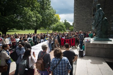 Prof. Russell Rickford, history, speaks to demonstrators at the Cornell DREAM Team's protest against the recision of the Deferred Action for Childhood Arrivals program earlier this week, September 8th, 2017.