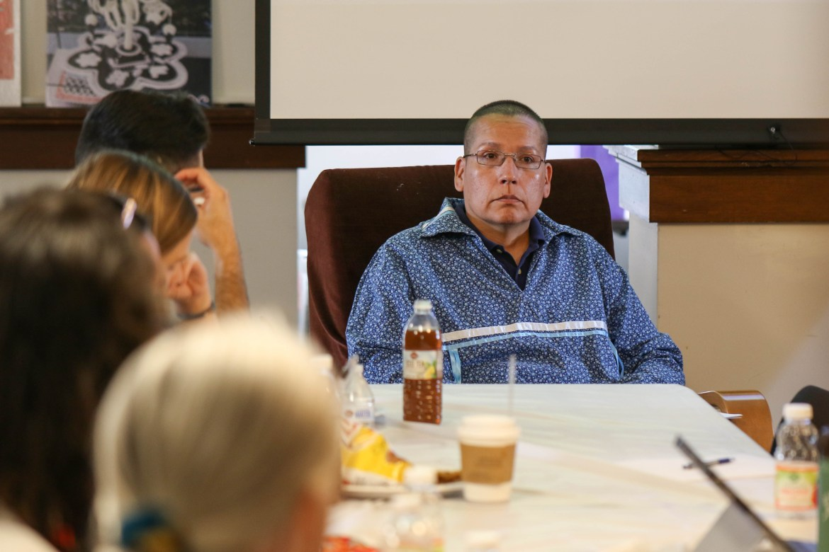 Karl Hill of the Cayuga Nation discusses the history of the Declaration on the Rights of Indigenous Peoples at a lecture on Wednesday.