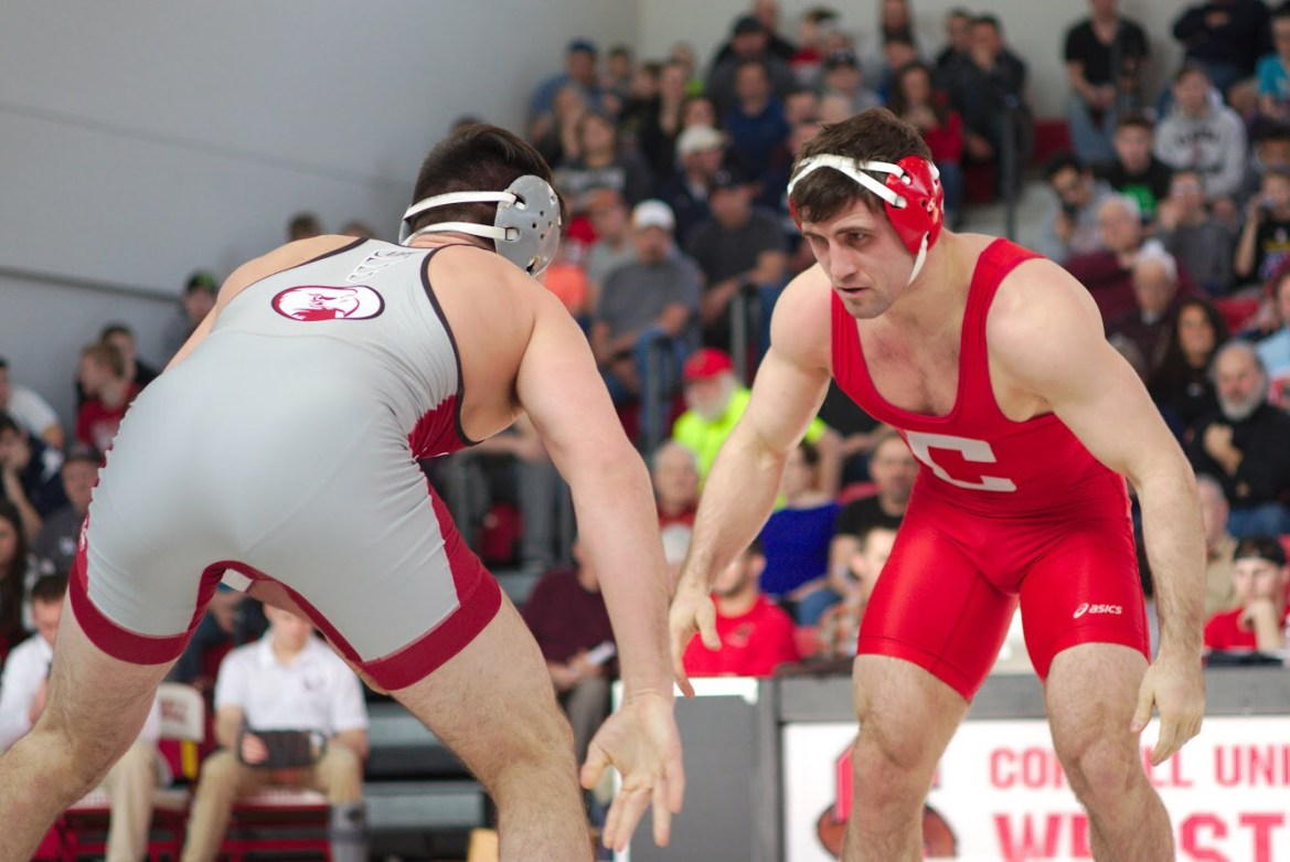 Gabe Dean pictured wresting against Lock Haven last year. The two-time NCAA champion returns to the program as a volunteer coach.