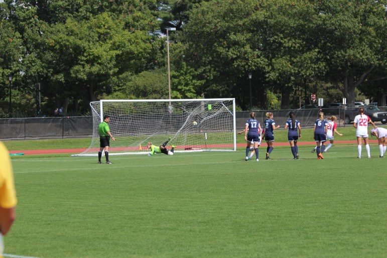 Kaili Gregory scoring her first career goal Saturday against Maine -- a penalty kick that proved to be the game-winner.
