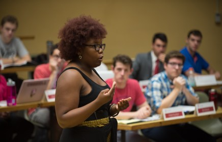 One of BSU's political action chairs speaks during a community portion of the S.A. meeting.