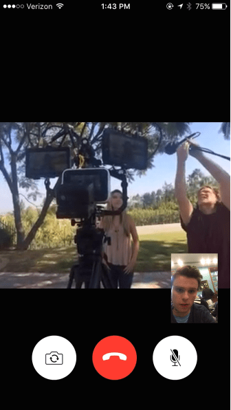 Haggerty directs the film on FaceTime from Mann Library while the scene shoots in Los Angeles.