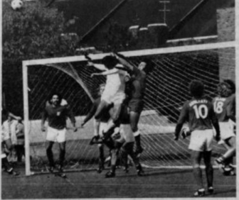 Bruce Arena '73 (goalie) makes a leaping save against Penn in 1972.