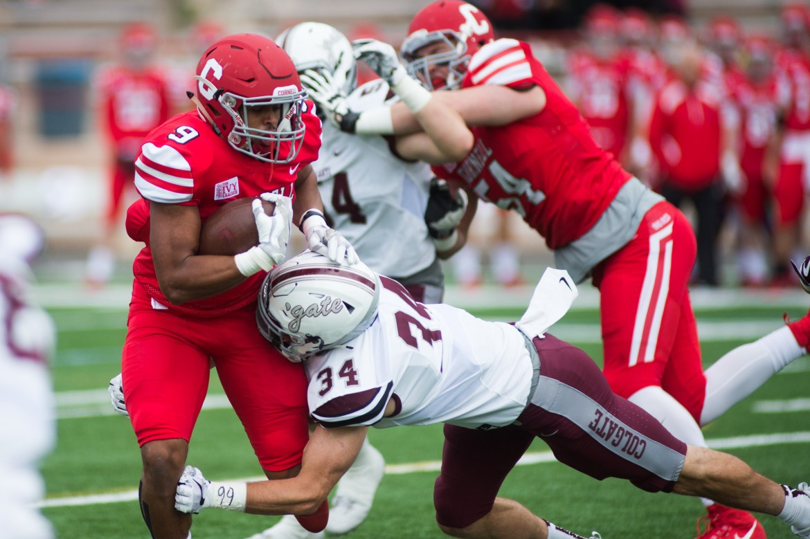 Junior running back Chris Walker rushes against Colgate last Saturday, a game Cornell lost, 21-7.