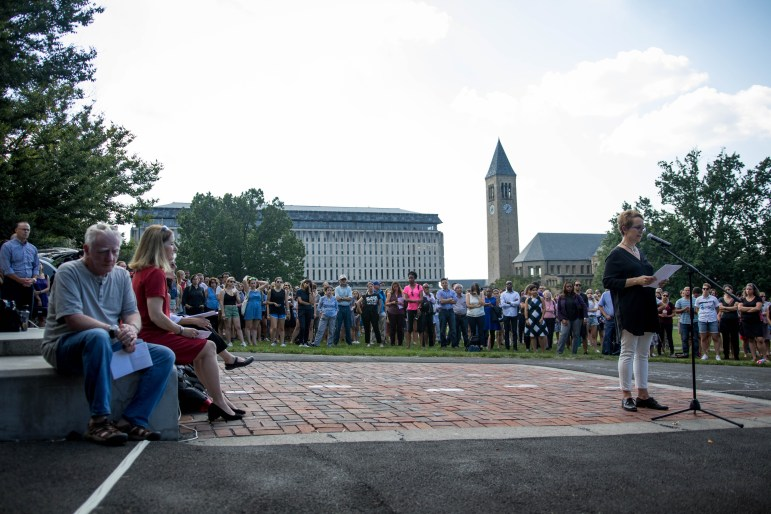 Prof. Tracy McNulty, French and comparative literature, addresses the crowd on the Arts Quad on Sept. 27, 2017 (Michael Wenye Li/Sun Assistant Photography Editor)