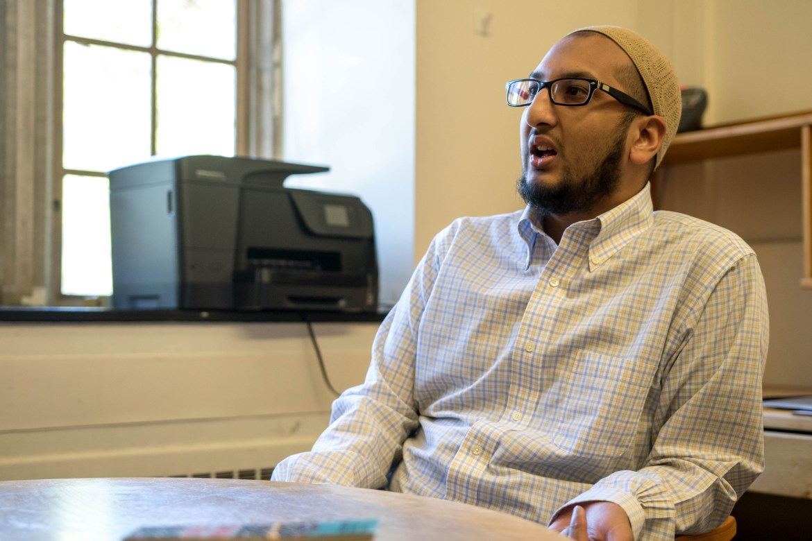Chaplain Yasin Ahmed interviews with The Sun on Wednesday in Anabel Taylor Hall. Ahmed said he has met with both Muslim and non-Muslim students experiencing anxiety and that helping them feel safe has been a priority.