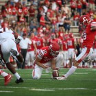 Nickolas Null fires off a PAT in Cornell's 34-7 win over Brown Saturday. After an injury to junior Zach Mays, Null took over kicking duties in addition to punting.