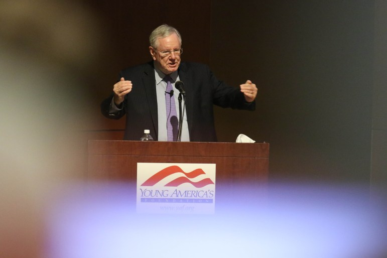 Steve Forbes, chairman and editor-in-chief of Forbes Media, spoke to students Wednesday night on the future of the American economy, healthcare reform and tax policy. (Michael Wenye Li / Sun Assistant Photography Editor)