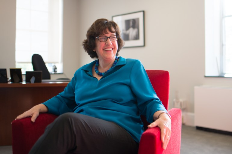 Cornell President Martha Pollack speaks to the Sun in her office in Day Hall, Oct. 5, 2017. (Cameron Pollack / Sun Photography Editor)