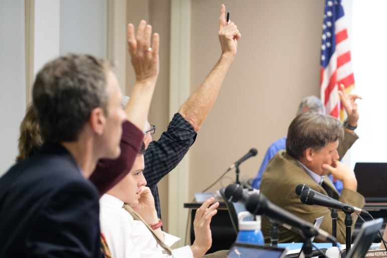 Common Council members, above, voted to add a total of $230,000 in operational city expenditures on top of Myrick's proposed budget, increasing the median homeowner's tax burden by $21.