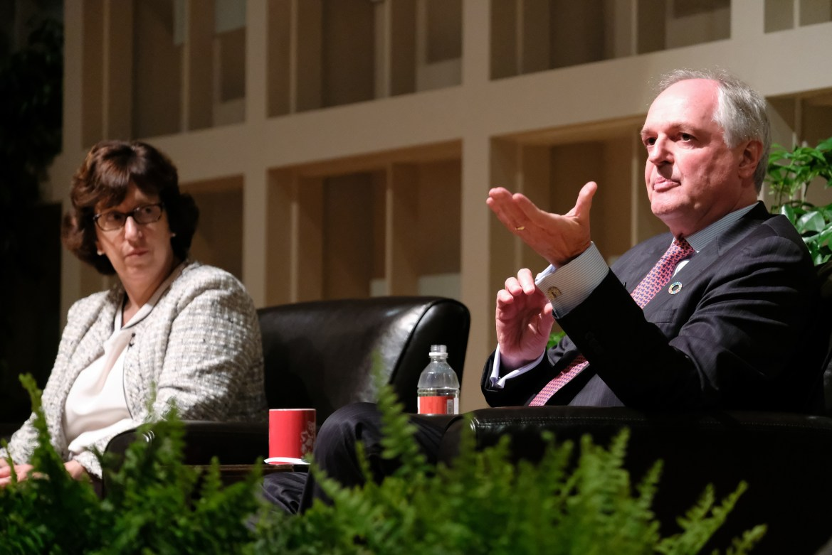 "Unilever CEO Paul Polman and President Martha Pollack speak at ""The Case for Sustainable Capitalism"" lecture."