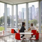 People meet in the Bloomberg Center at Cornell Tech on Roosevelt Island.
